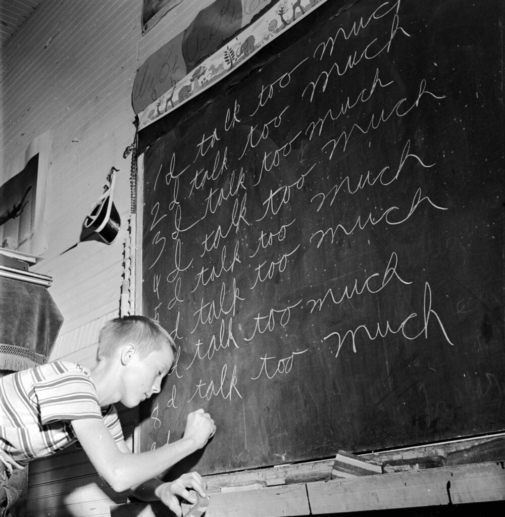 circa 1960:  A time honoured punishment for an over vocal student in a one room grade school in Leslie County, rural Kentucky.  (Photo by Three Lions/Getty Images)