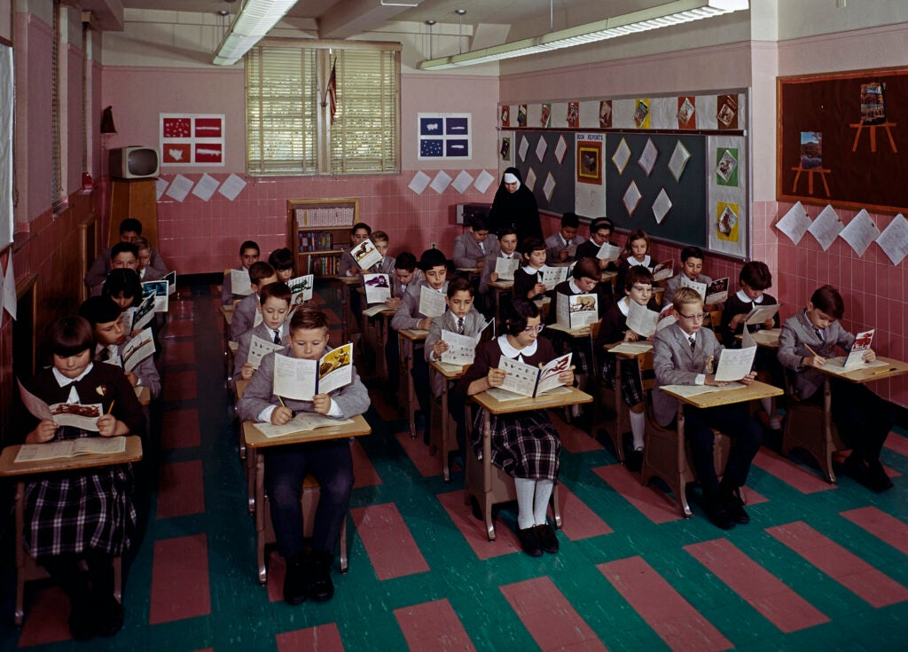 Students in class at St. John Villa Academy Catholic School (Photo by Eric Bard/Corbis via Getty Images)