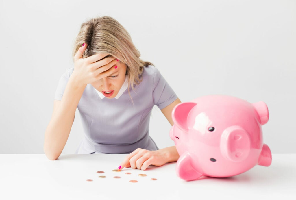 woman counting money, financial problems concept.