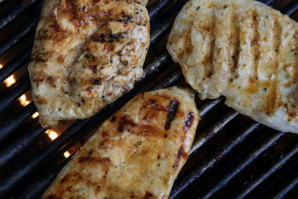 Grilled chicken meat, simple outdoor party food preparation