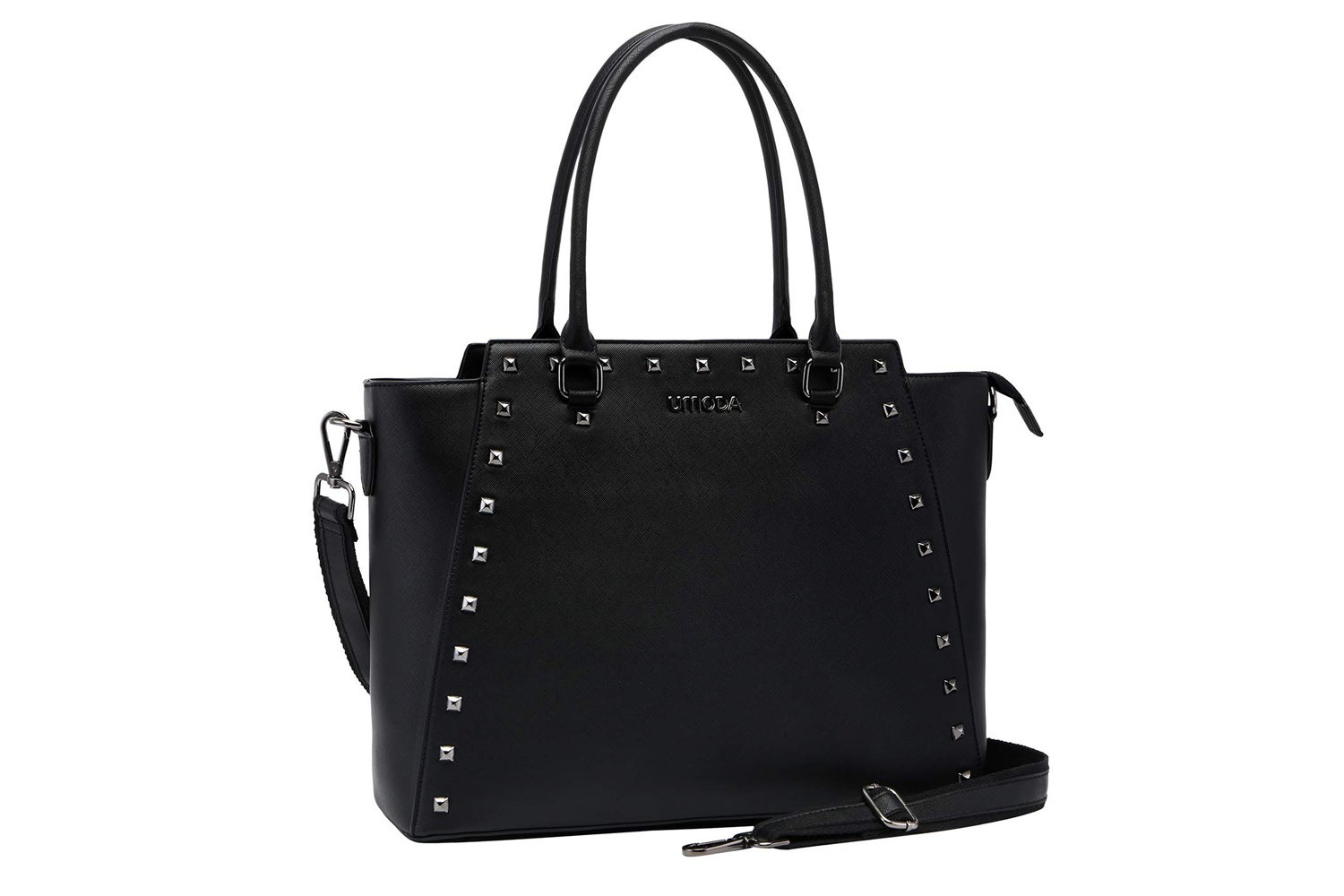 Laptop tote 15.6 Inch Long Strap, classic Black with modern studded design.