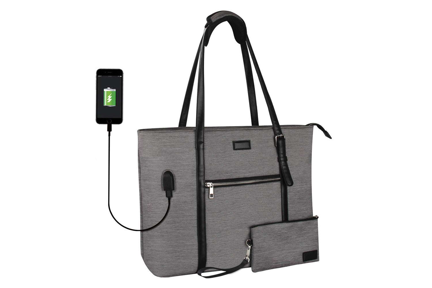 Large laptop tote Bag Fits 15 Inch Laptop, Multiple Compartments and Water Resistant with USB Port