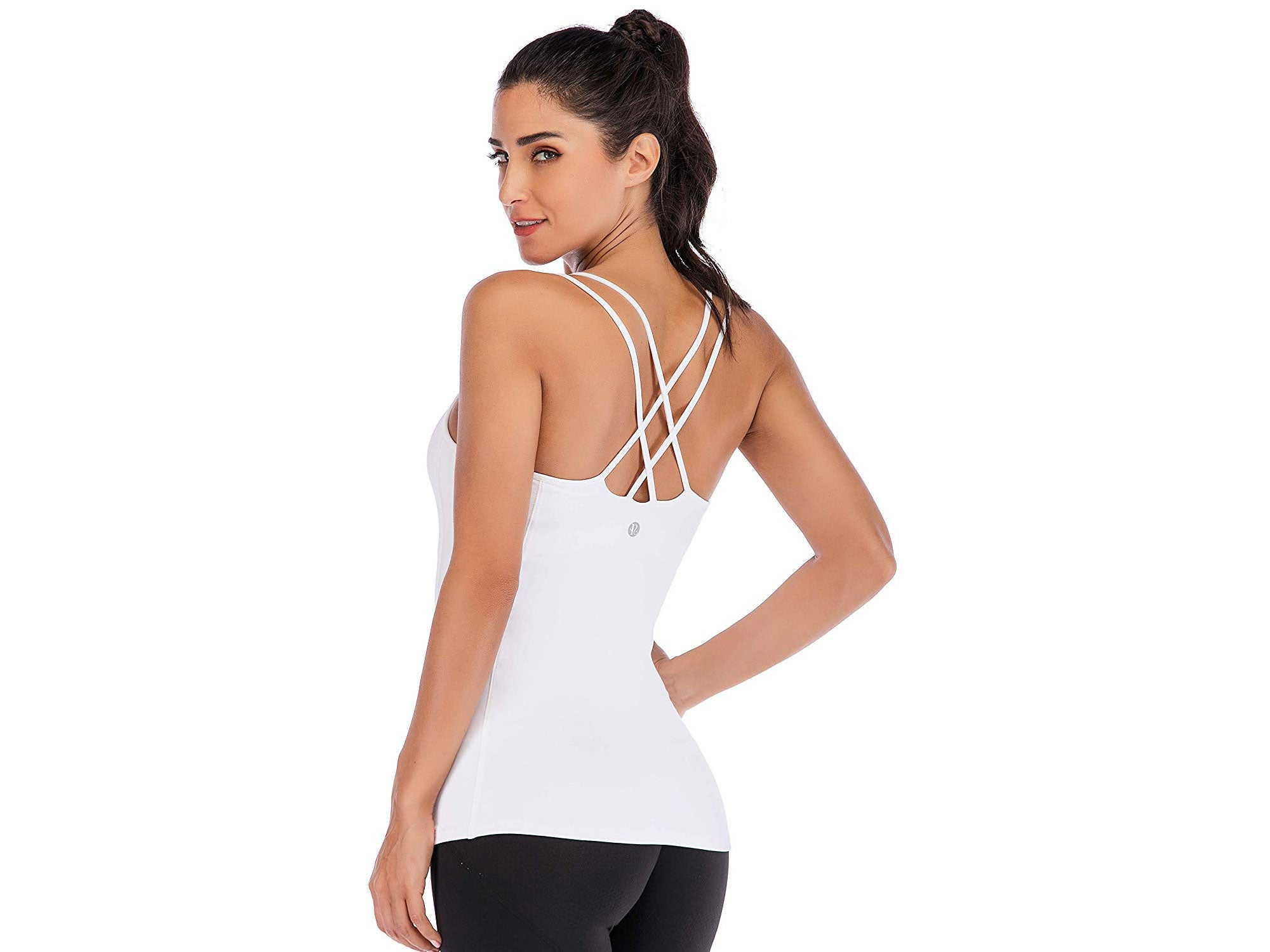 RUNNING GIRL Yoga Tank Tops for Women Built in Shelf Bra B/C Cups Strappy Back Activewear Workout Compression Tops