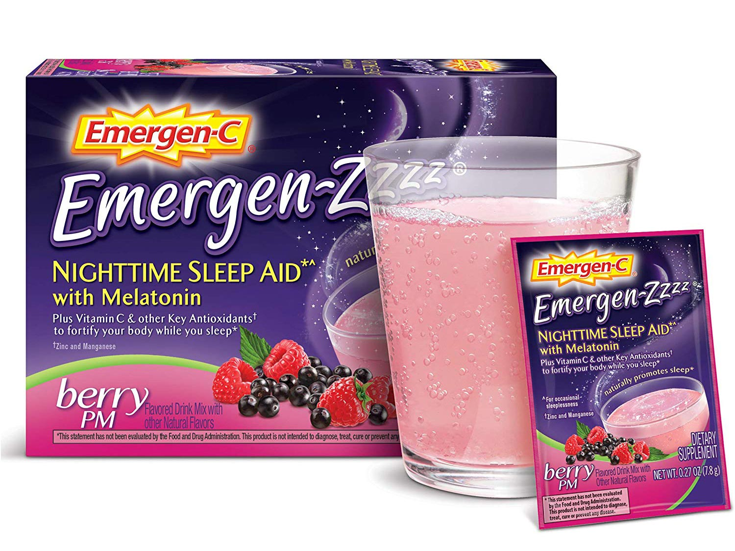 Emergen-Zzzz Nighttime Sleep Aid, With Melatonin And Vitamin C 500mg (48 Count, Berry PM Flavor)