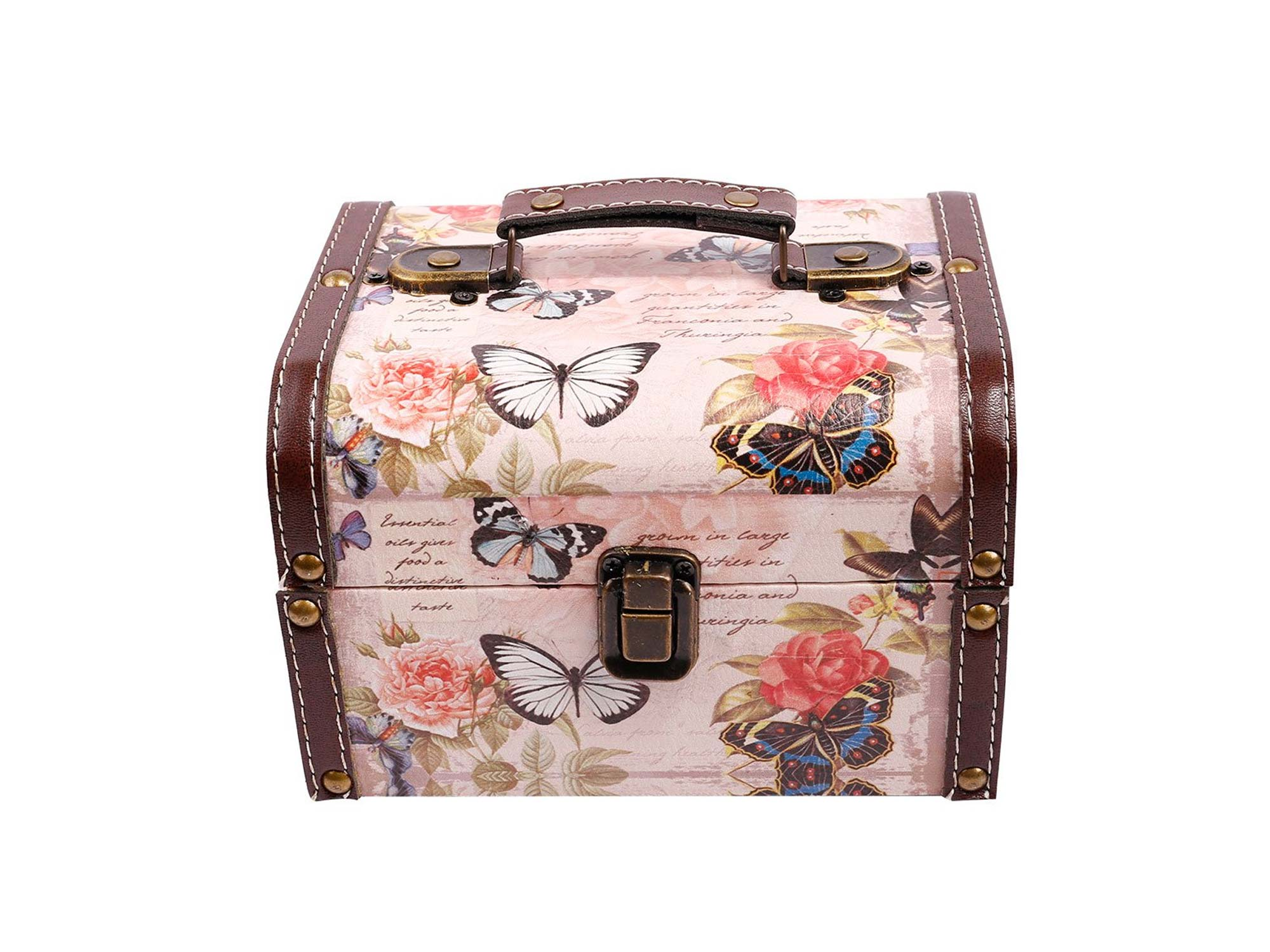 WaaHome Butterfly Wooden Treasure Boxes Decorative Jewelry Keepsakes Box