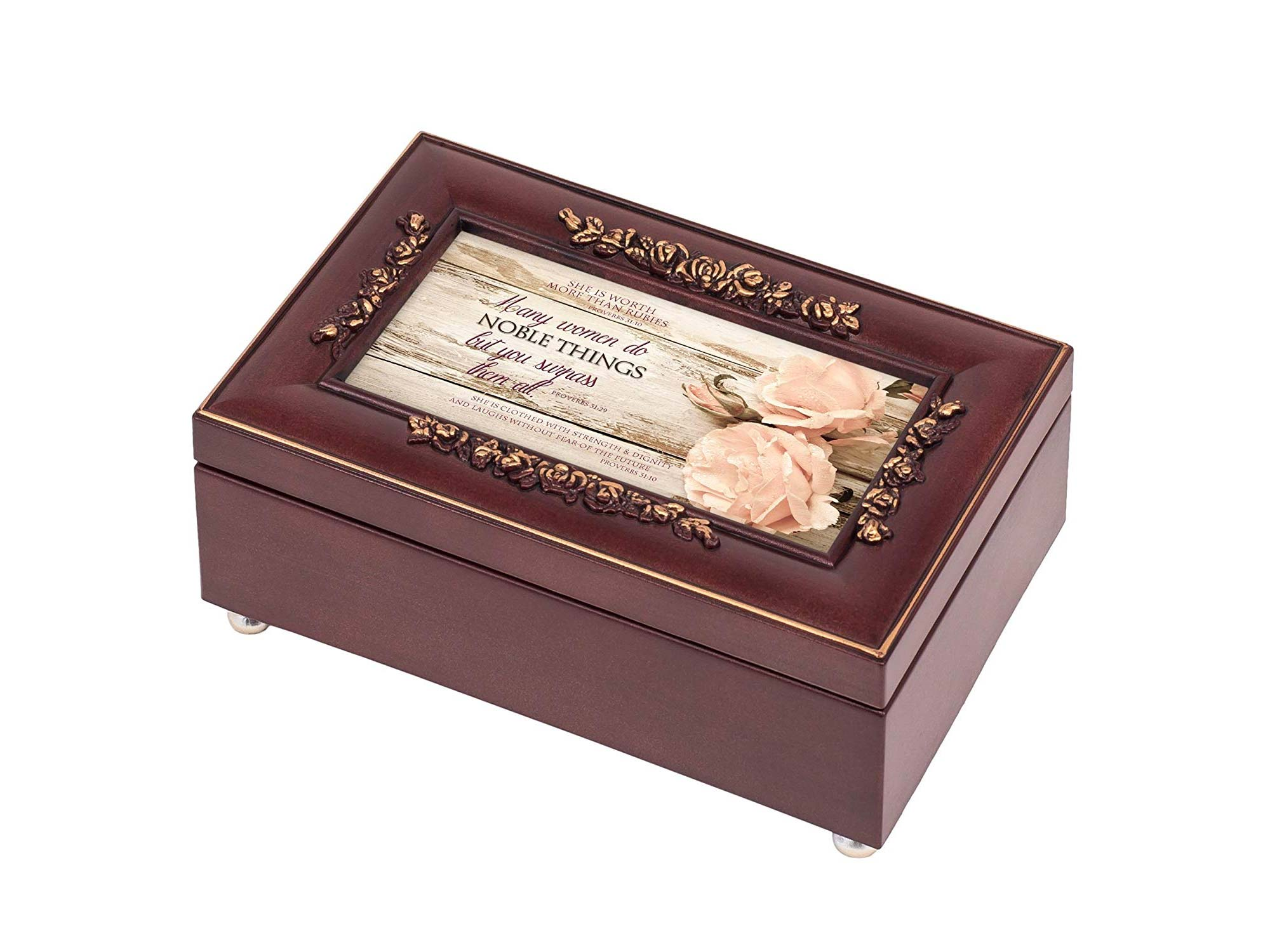 Proverbs 31 Woman Distressed Rose Wood Finish Jewelry Music Box