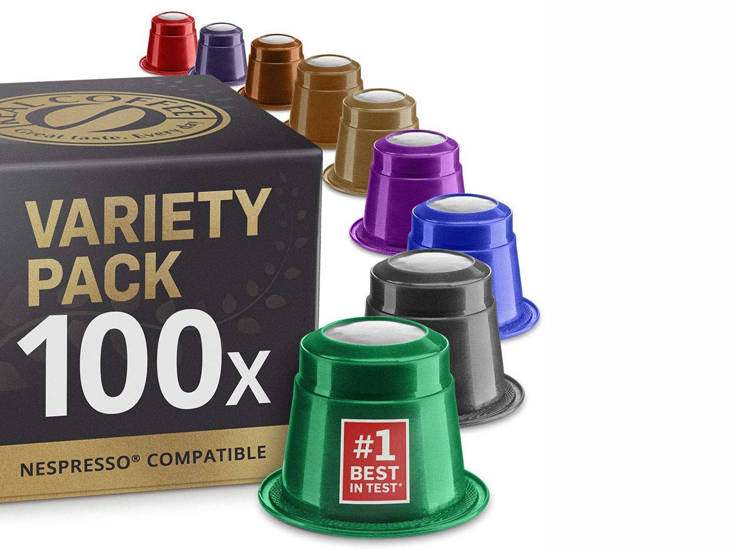 Real Coffee Mixed Variety Pack: 100 Nespresso Compatible Capsules. Organic/Fairtrade Nespresso Capsules. 9 Different Varieties