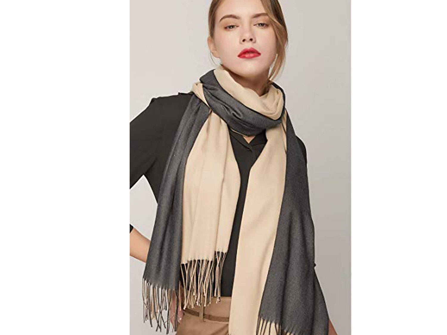 SOJOS Two-Tone Scarf Cashmere Feel Wool Wraps Shawls Women Large Soft Scarves