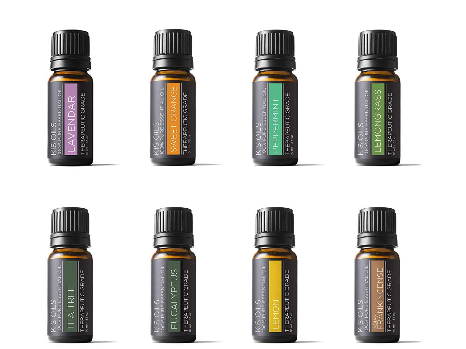 Aromatherapy Top 8 100% Pure Therapeutic Grade Basic Sampler Essential Oil Gift Set