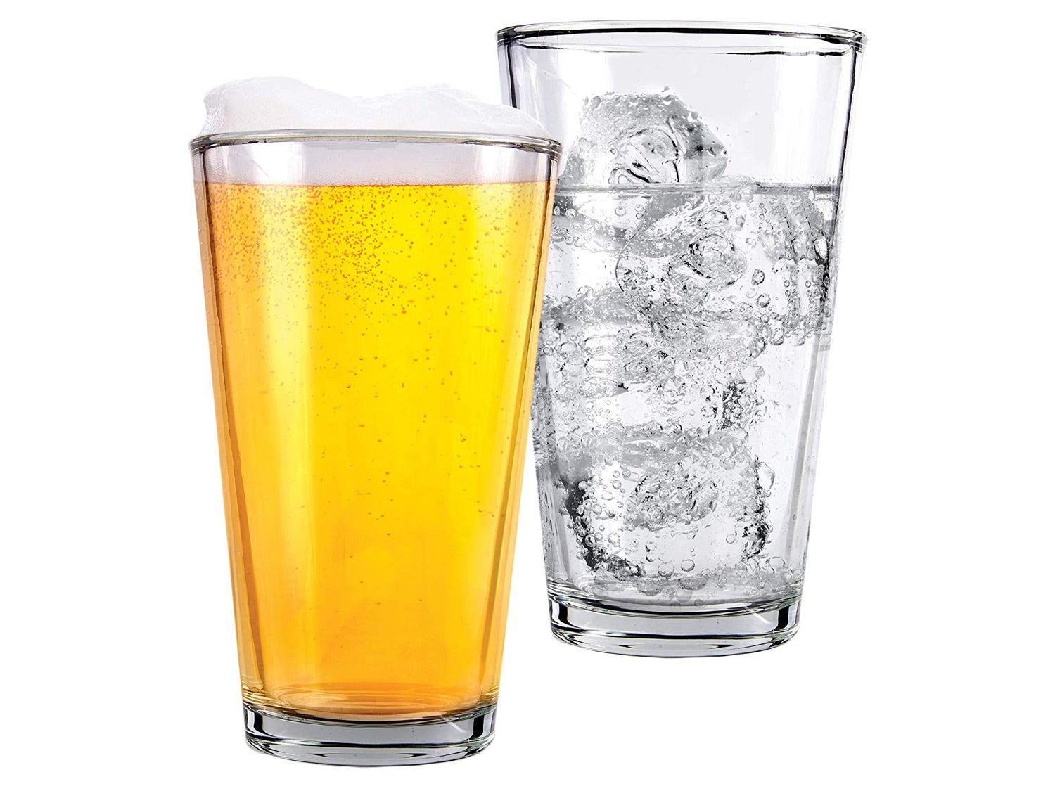 Clear Glass Beer Cups – 12 Pack – All Purpose Drinking Tumblers, 16 oz