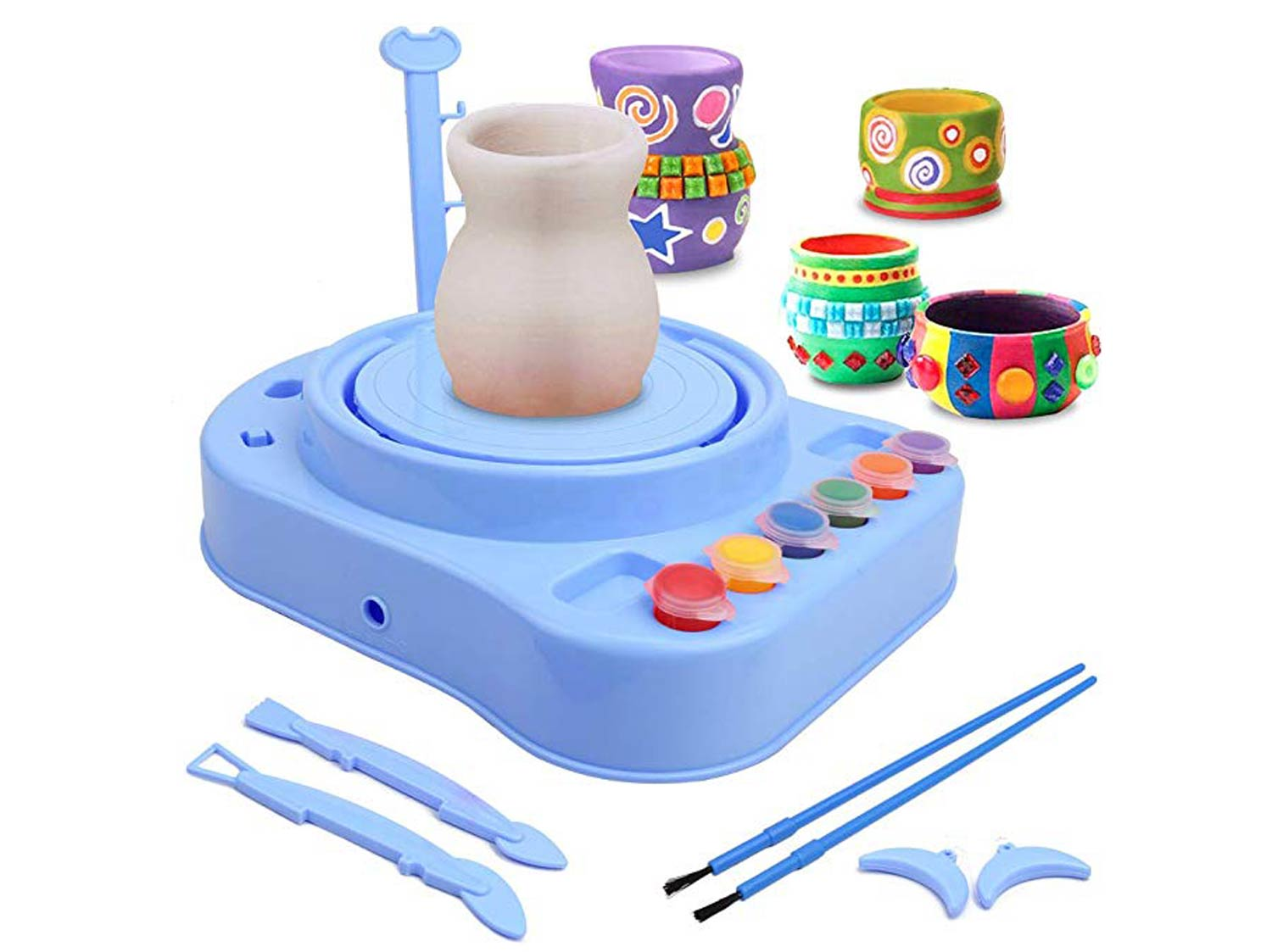 Pottery Wheel, Pottery Studio, Craft Kit, Artist Studio, Ceramic Machine with Clay, Educational Toy for Kids Beginners (Blue)
