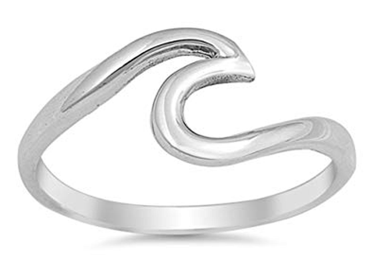 CHOOSE YOUR COLOR Sterling Silver Wave Ring