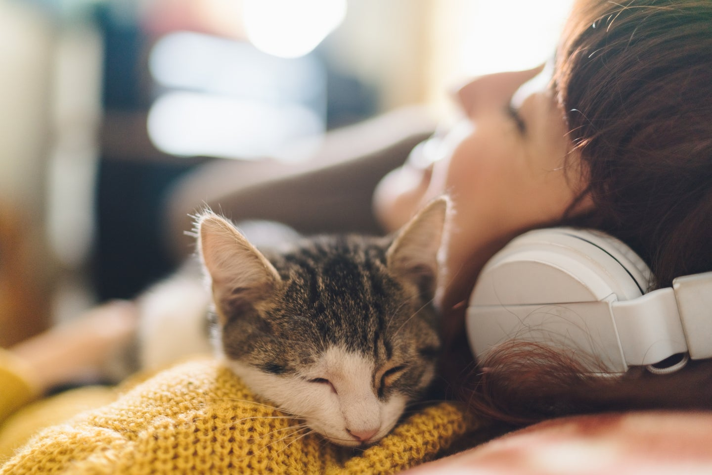 relaxed girl with eyes closed hugging a cat and enjoying music