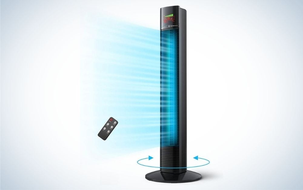 Black tower house fan with large LED display and remote control