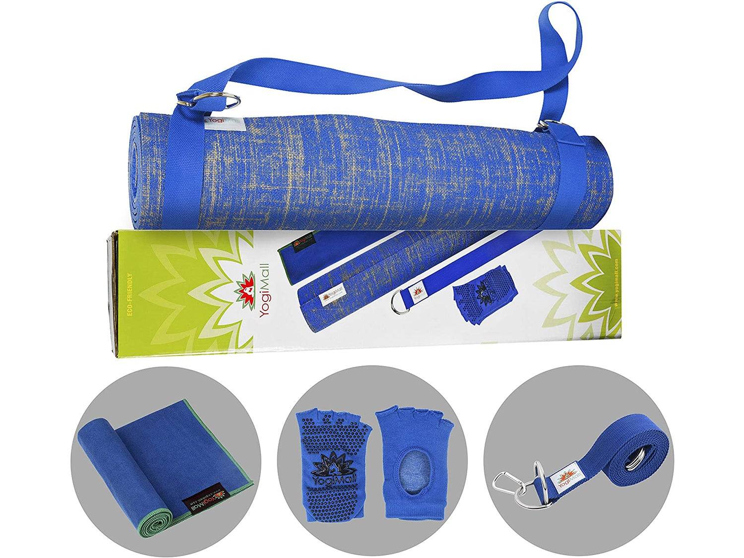 YogiMall Natural Jute Yoga Mat Kit - Ultimate Yoga Essentials Set for Home, Gym & Studio - Includes Non-Slip Socks, Cotton Strap & Hand Towel - Eco Friendly, Reversible, Non-Toxic and SGS Certified.