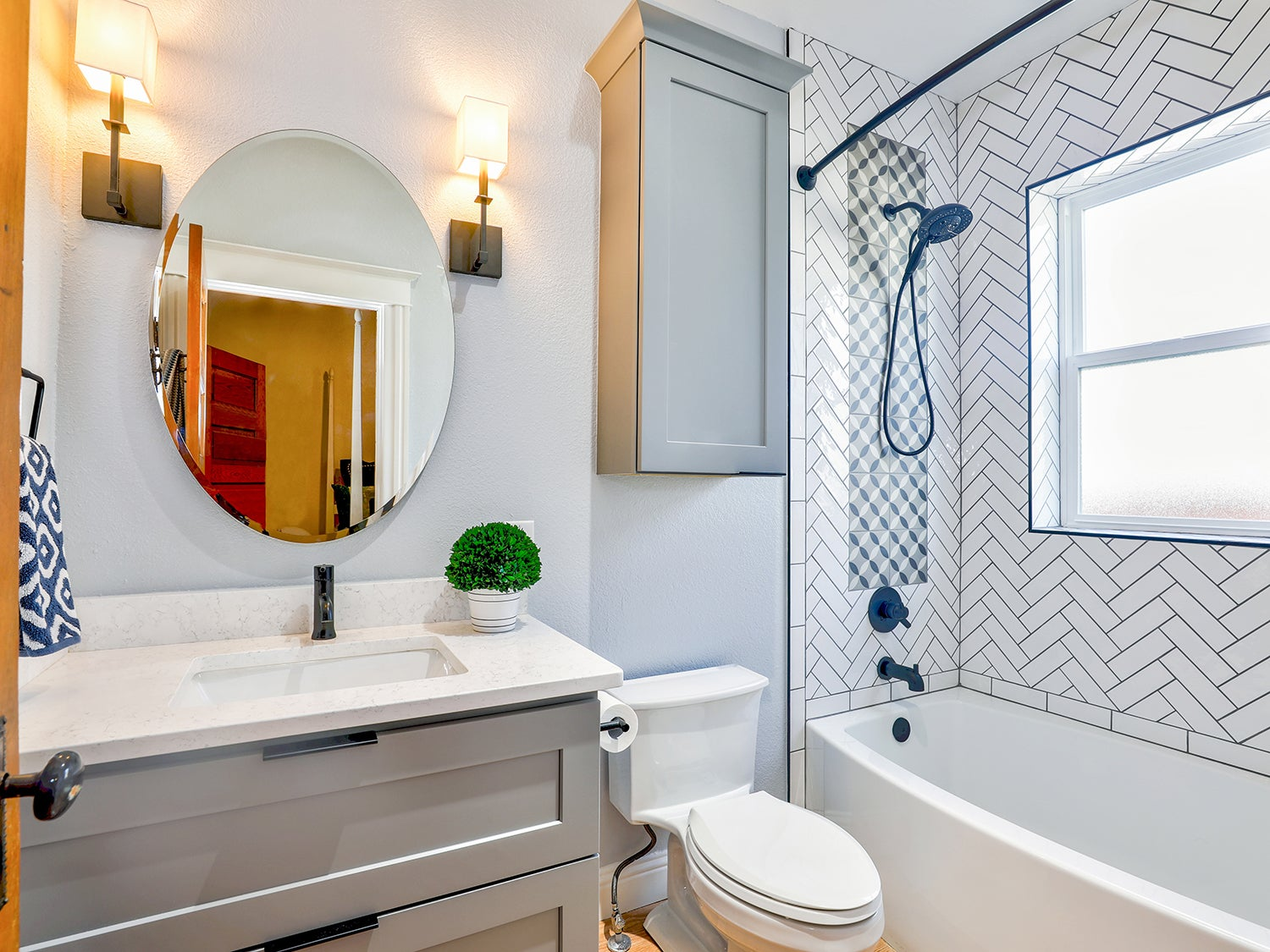 Overview of a home bathroom