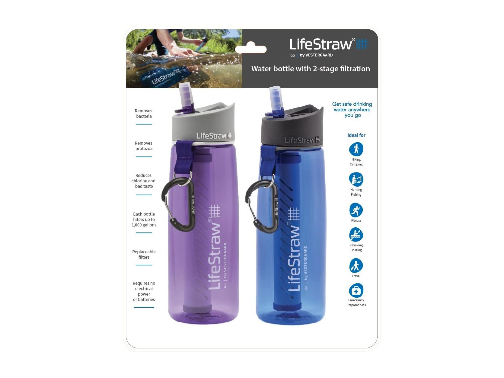 LifeStraw Go Water Filter Bottles with Integrated Filter Straw for Hiking, Backpacking, and Travel