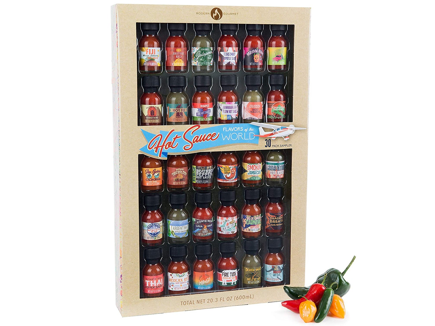 Thoughtfully Gifts, Hot Sauce Flavors of the World: 30 Pack Hot Sauce Sampler Set