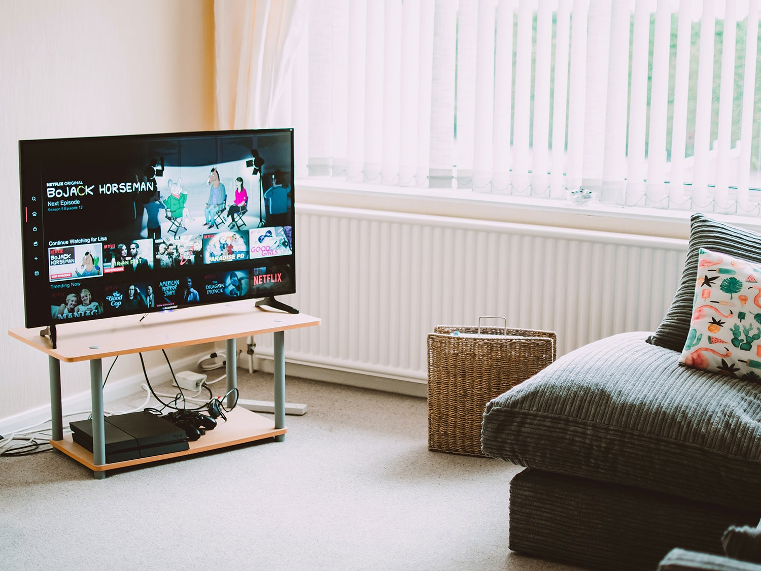 A TV set in a living room