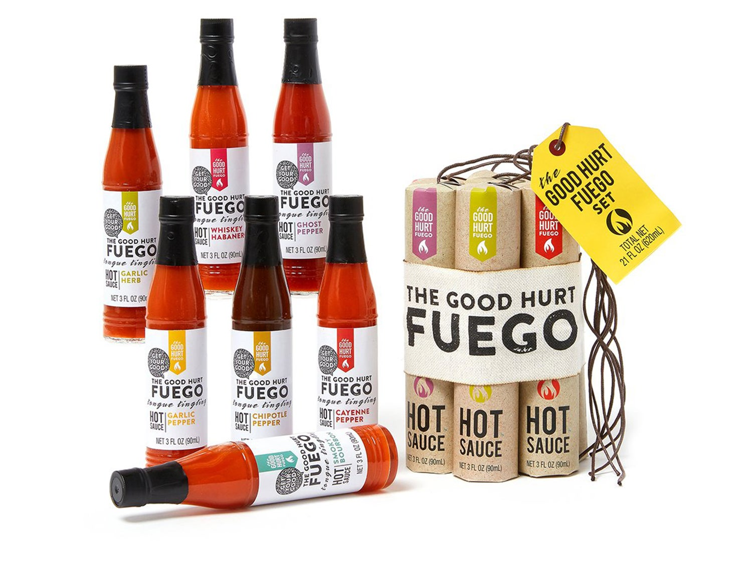 Thoughtfully Gifts, The Good Hurt Fuego: A Hot Sauce Gift Set for Hot Sauce Lovers