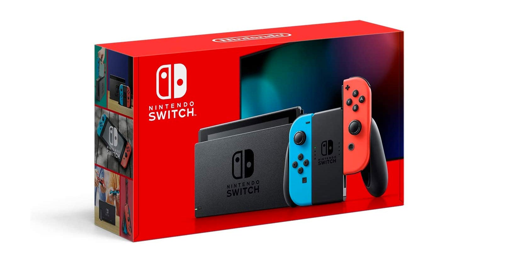Nintendo Switch with Neon Blue and Neon Red