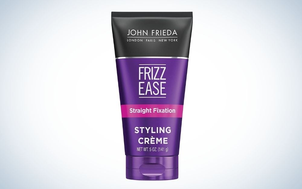 The John Frieda Frizz-Ease Straight Fixation Styling Creme is the best value.