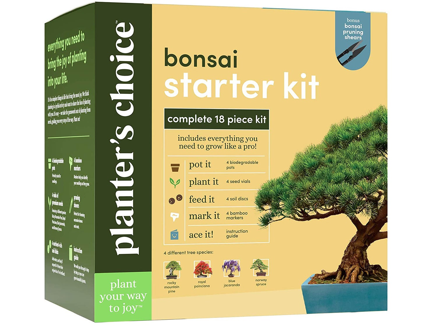 Bonsai Starter Kit - The Complete Growing Kit to Easily Grow 4 Bonsai Trees from Seed + Comprehensive Guide & Bamboo Plant Markers