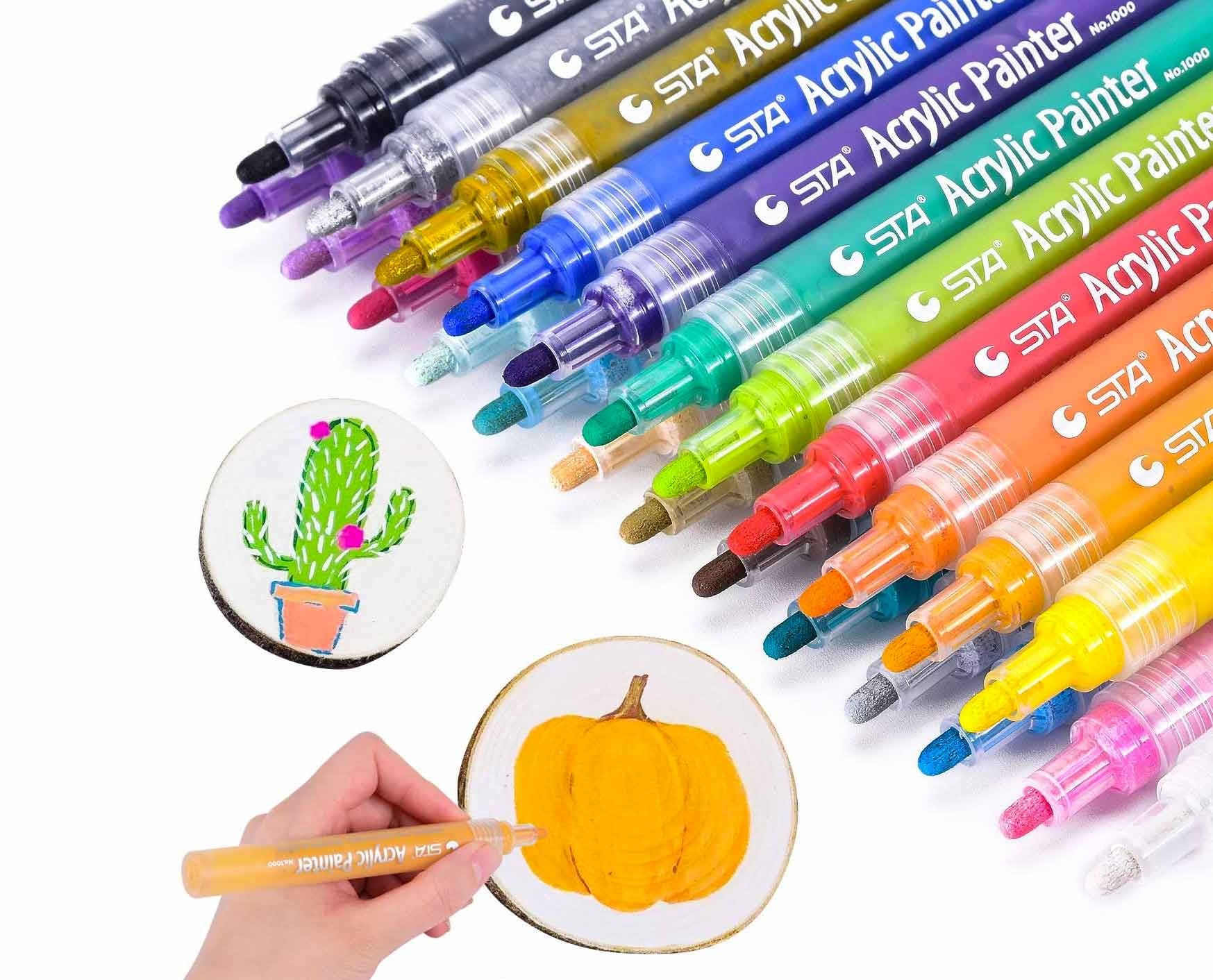Acrylic Paint Pens, Morfone Markers 24 Colors Water Based Pen for Rock Painting