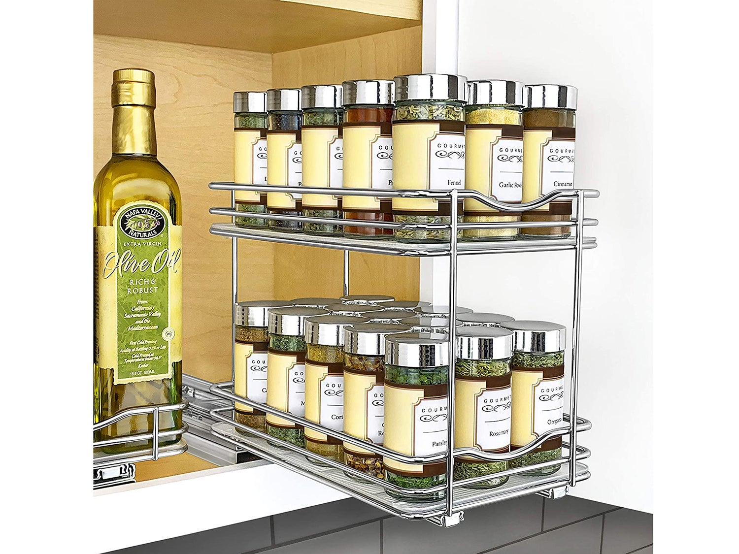 Lynk Professional 430622DS Slide Out Double Spice Rack Kitchen Upper Cabinet Organizer, 6