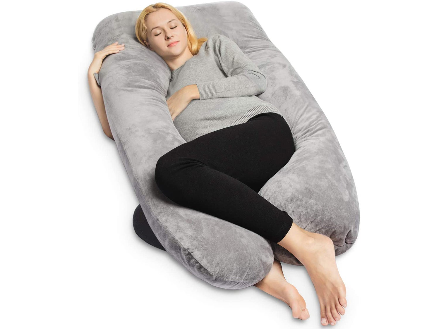 QUEEN ROSE Pregnancy Pillow with Cover-Maternity Body Pillow U Shaped Pillow for Back,Gray