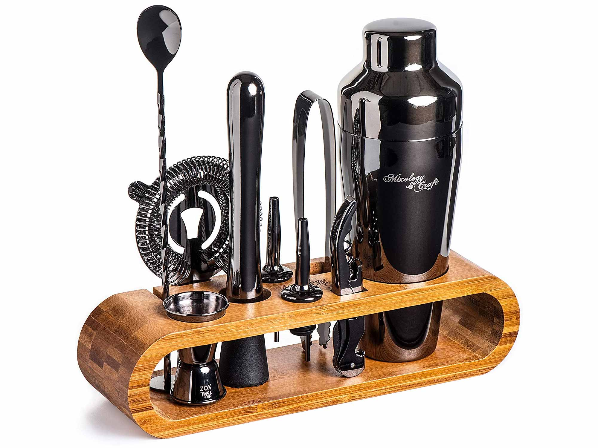 Mixology Bartender Kit: 10-Piece Black Bar Set Cocktail Shaker Set with Stylish Bamboo Stand