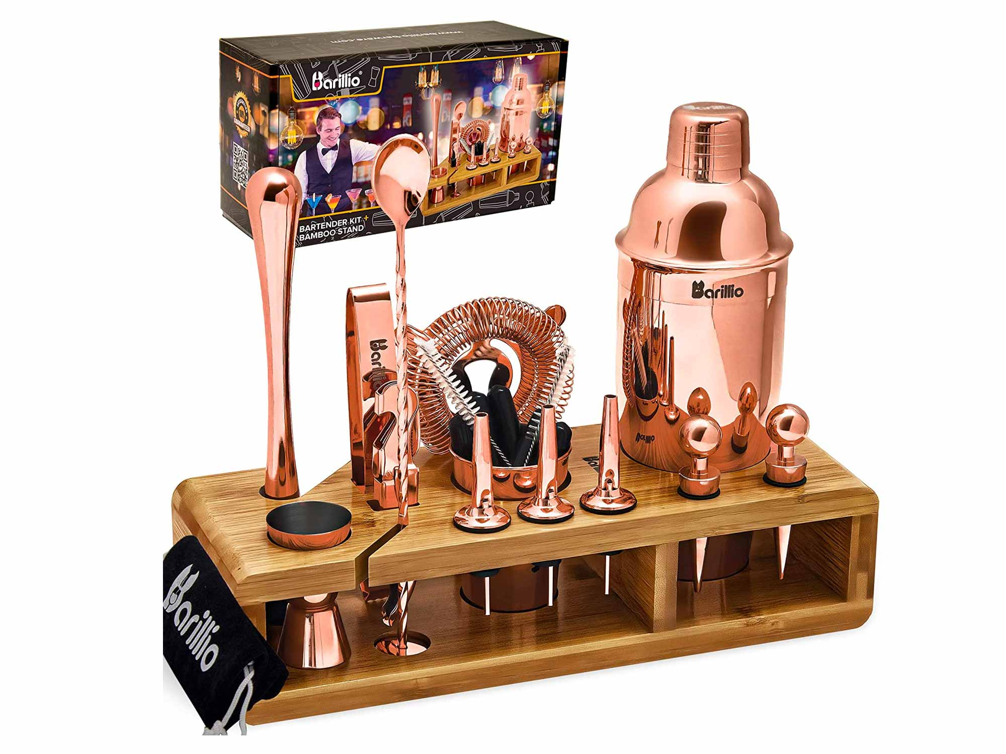 Copper 23-Piece Bartender Kit Cocktail Shaker Set by BARILLIO