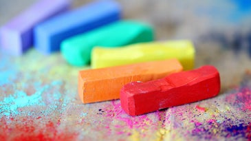 Pieces of colored chalk