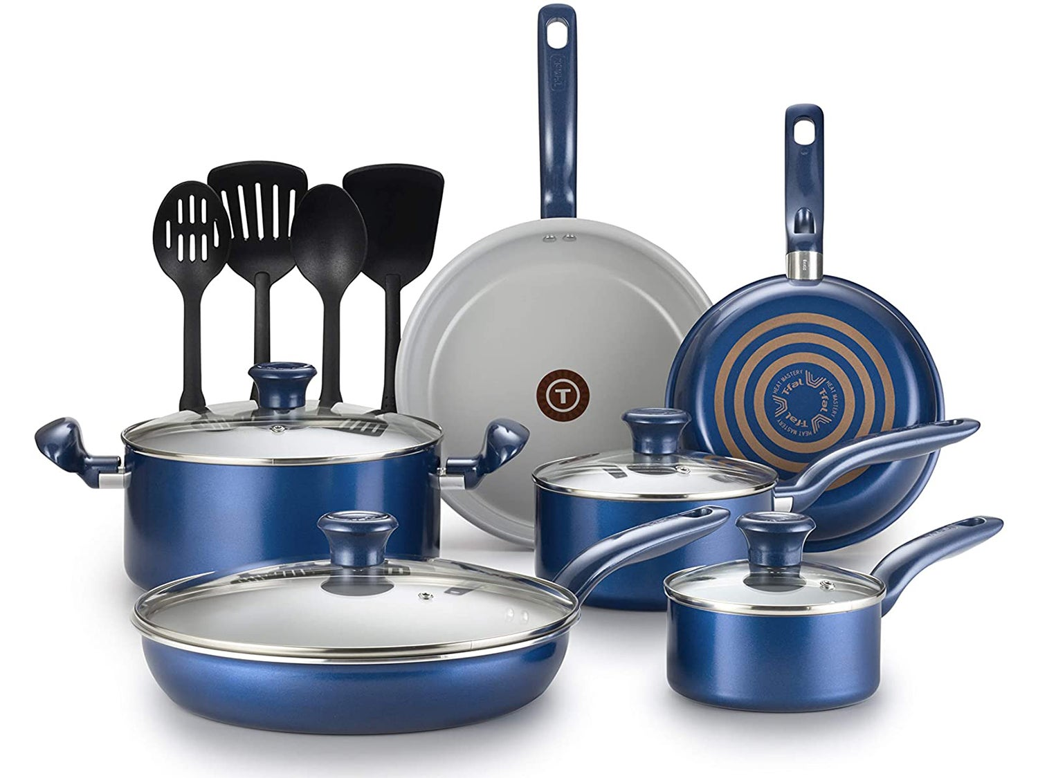 T-fal G918SE64 Inititives Initiatives Ceramic Thermo-Spot Heat Indicator Dishwasher Oven Safe Toxic Free Cookware Set
