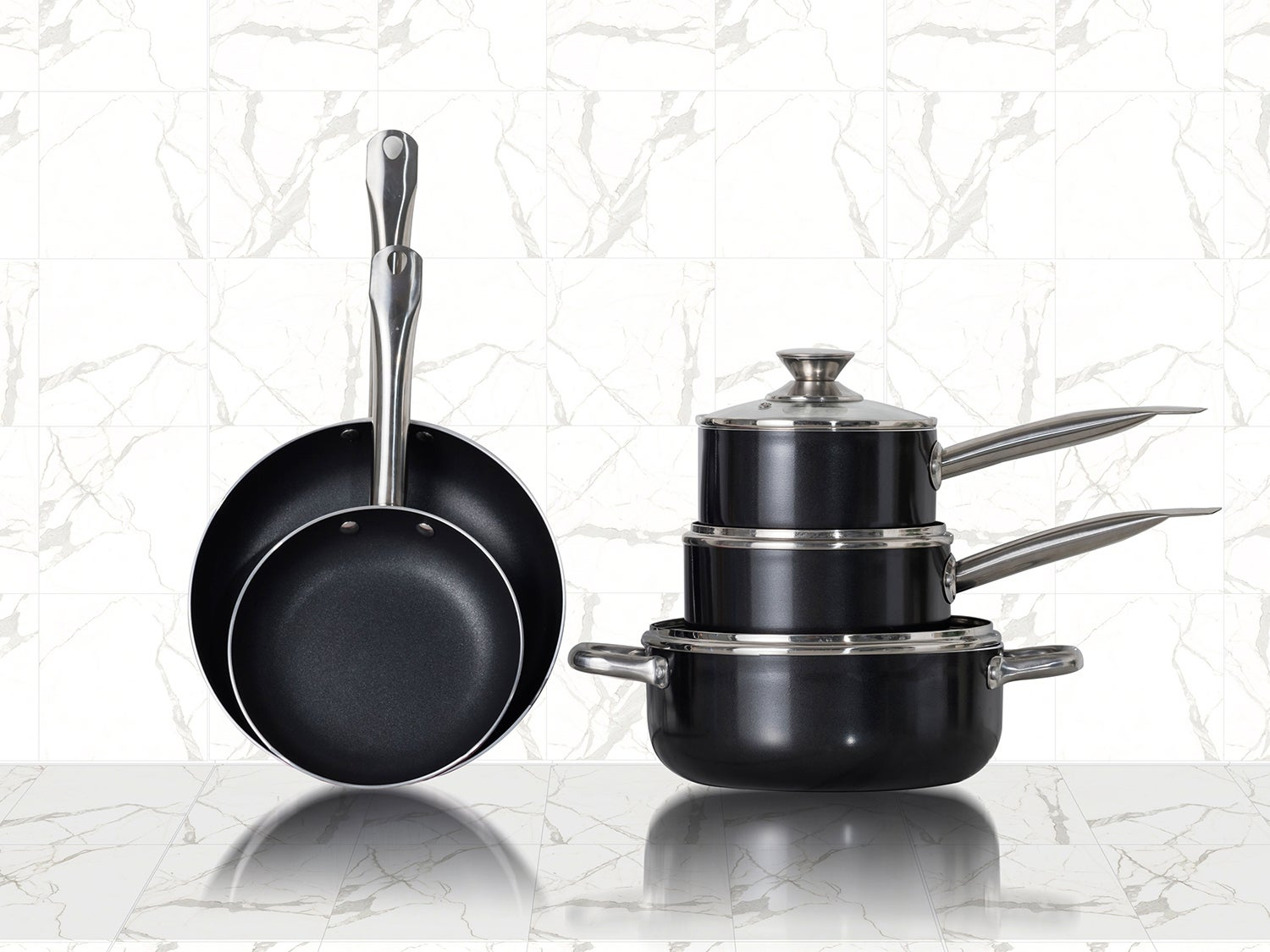 Pots and pans on a counter