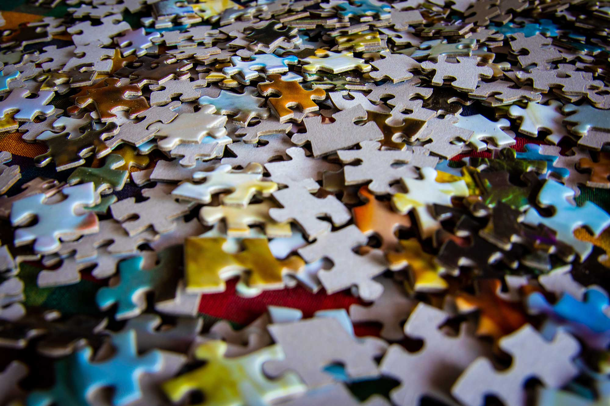 Close up of puzzle pieces