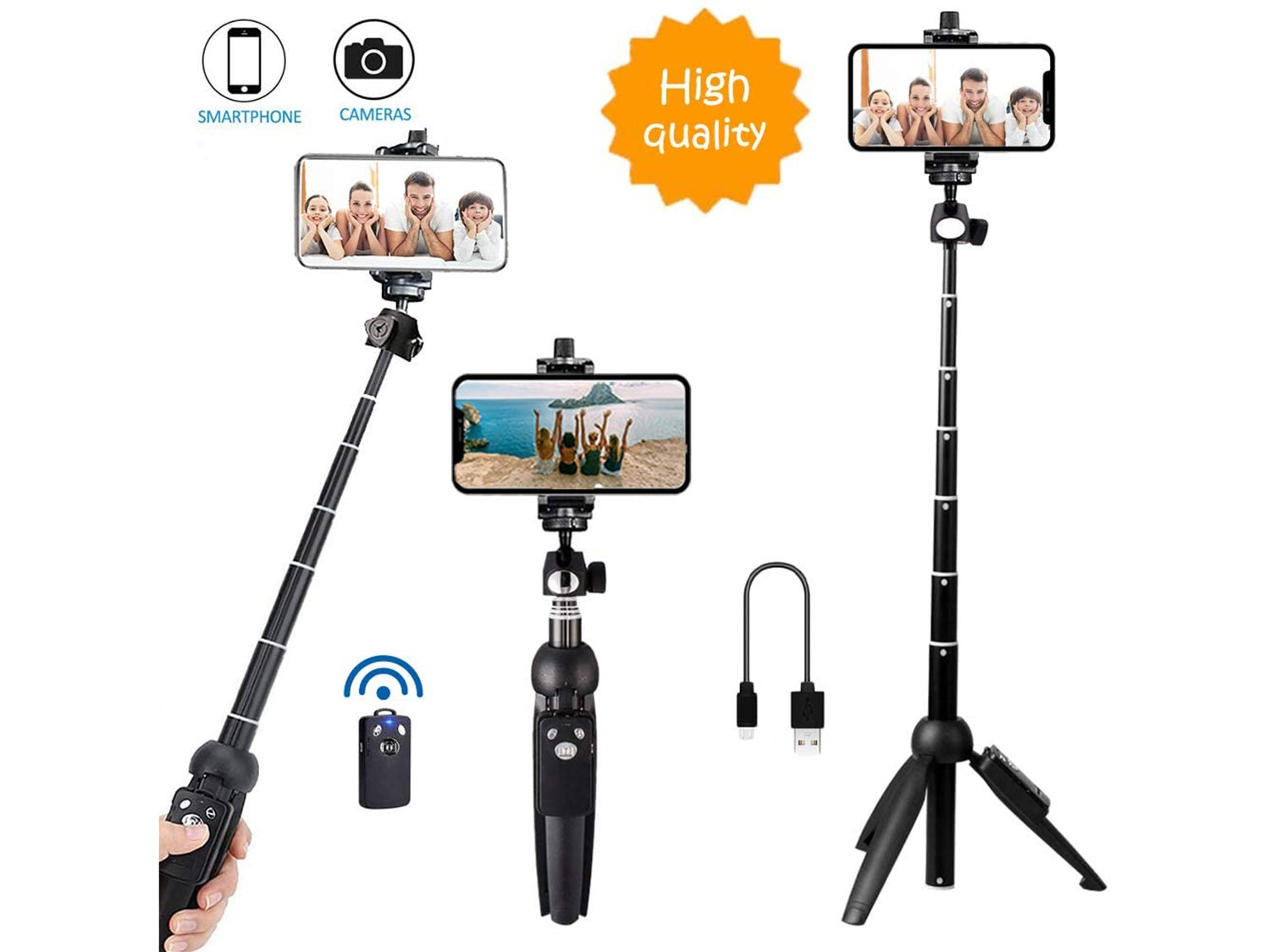 Bluehorn All in one Portable 40 Inch Aluminum Alloy Selfie Stick Phone Tripod
