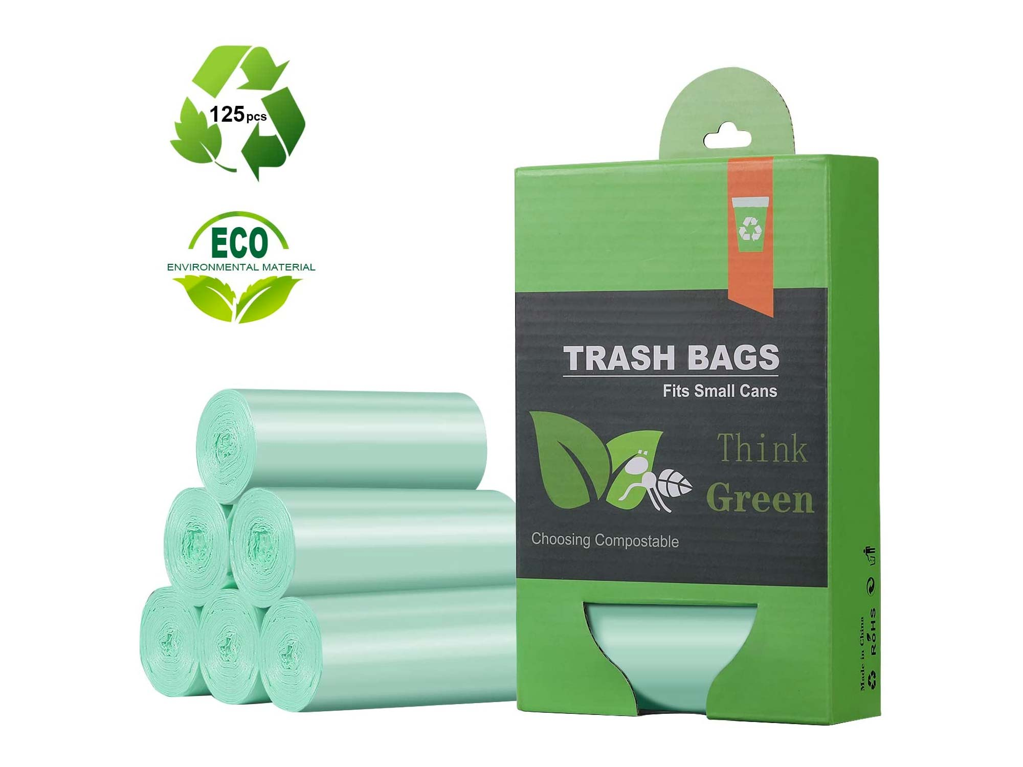 1.2 Gallon Small Trash Bags Garbage Bags, Mini Compostable Strong Bathroom Wastebasket Can Liners trash Bags