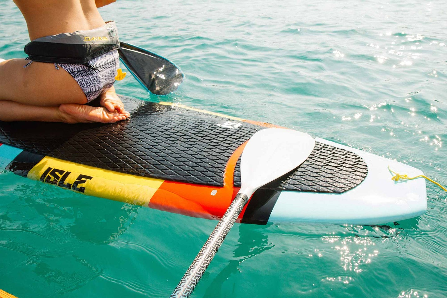 Closeup of paddle board in the water