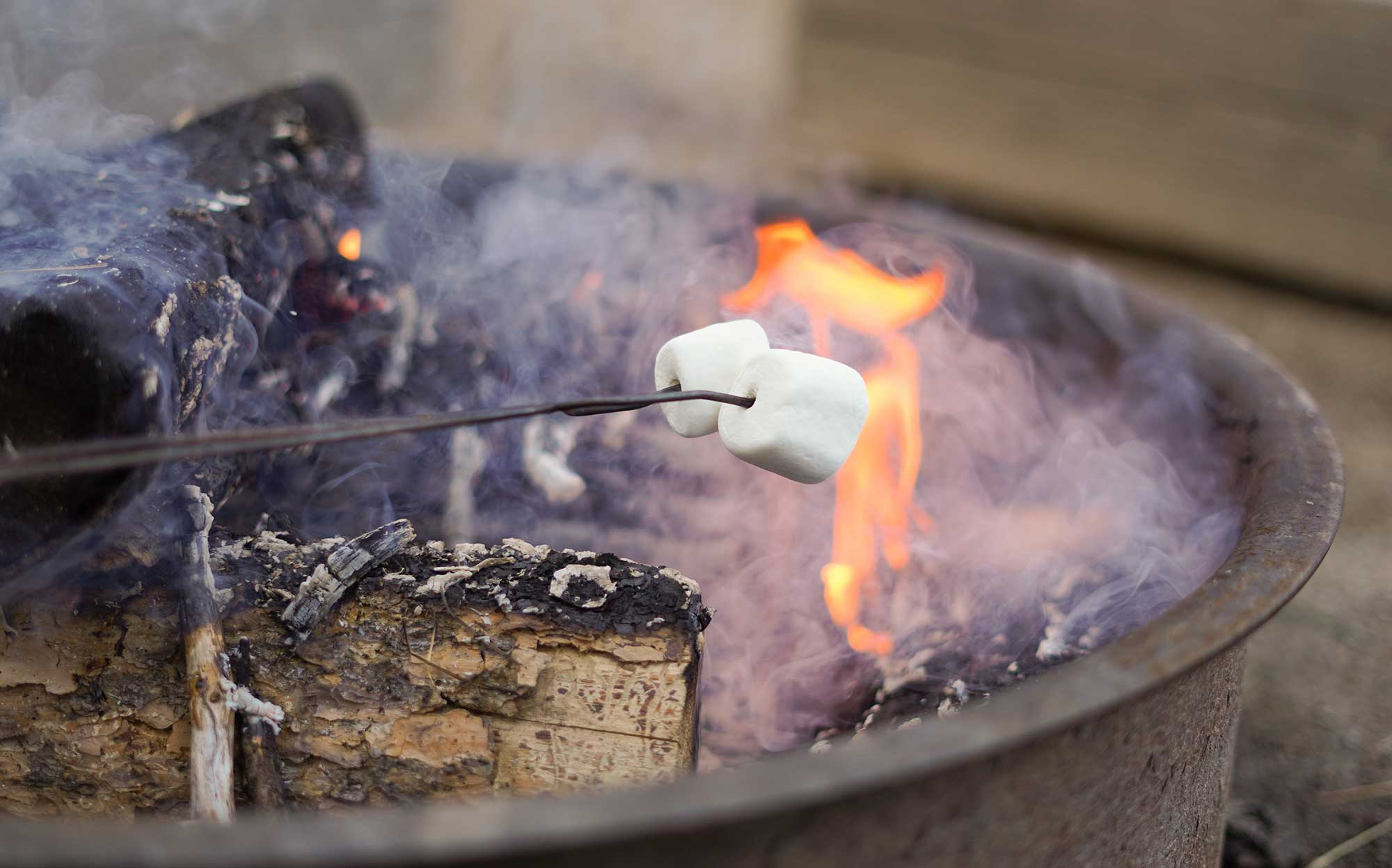 Close up of grilling marshmallows over fire pit