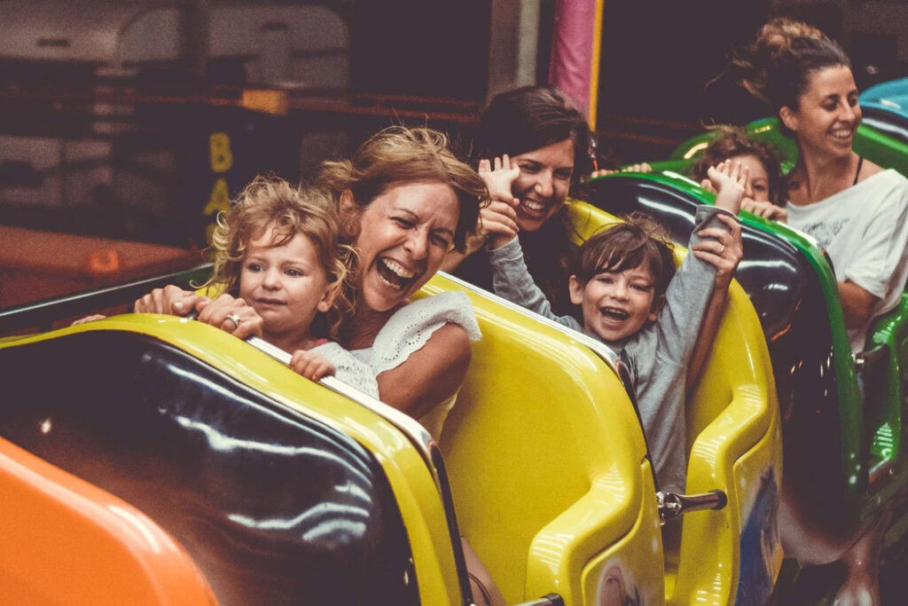Family on a roller coaster