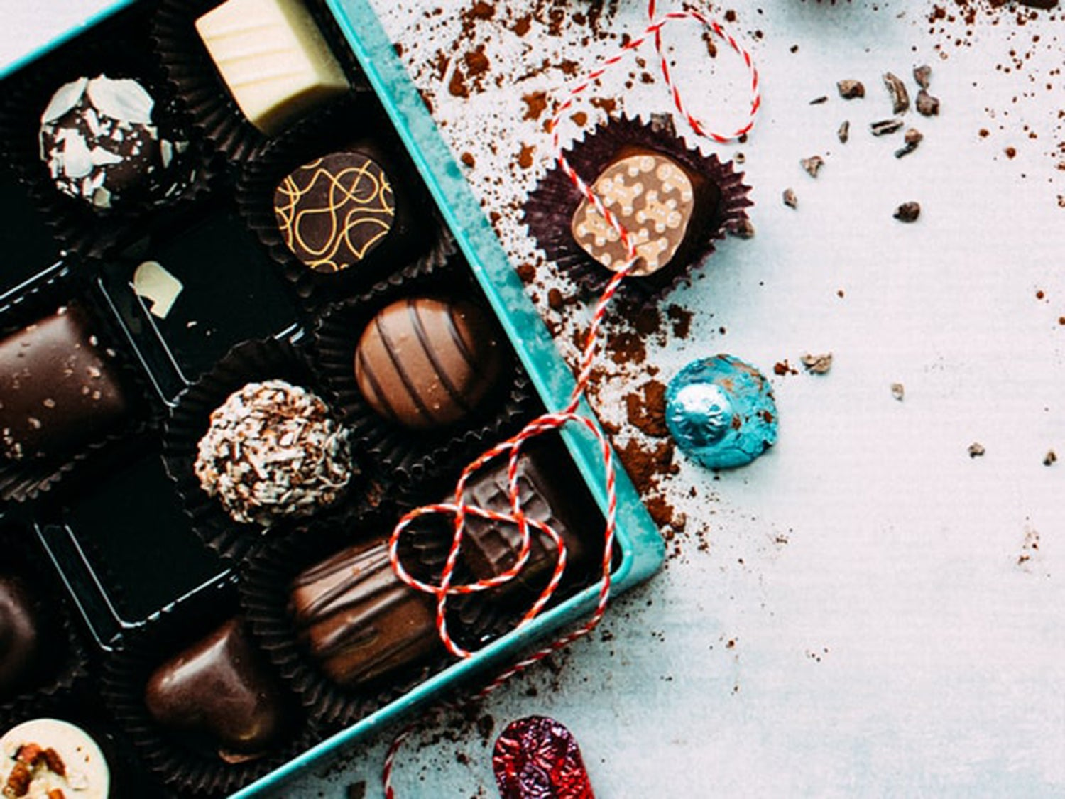 A selection of chocolate candy in a box