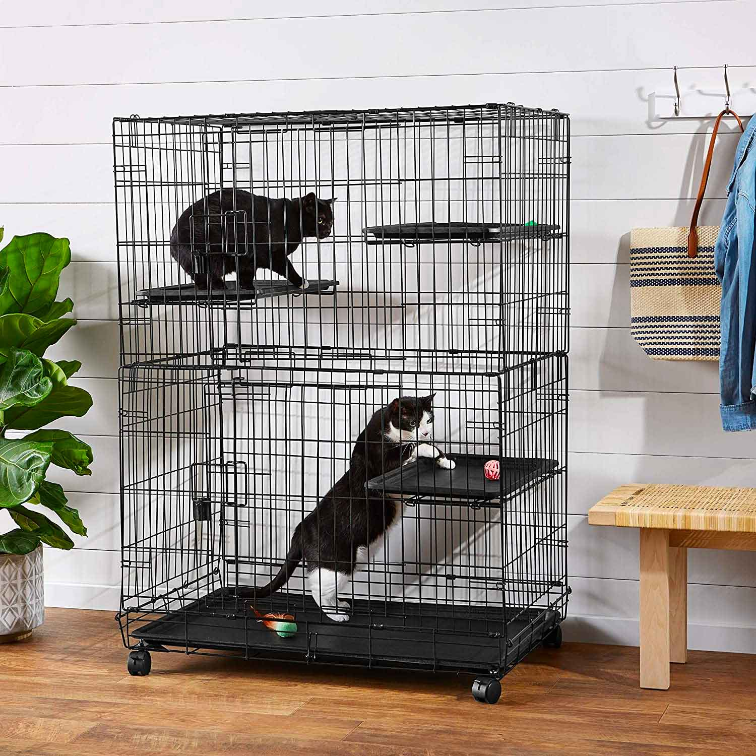AmazonBasics Large 3-Tier Cat Cage Playpen Box Crate Kennel - 36 x 22 x 51 Inches