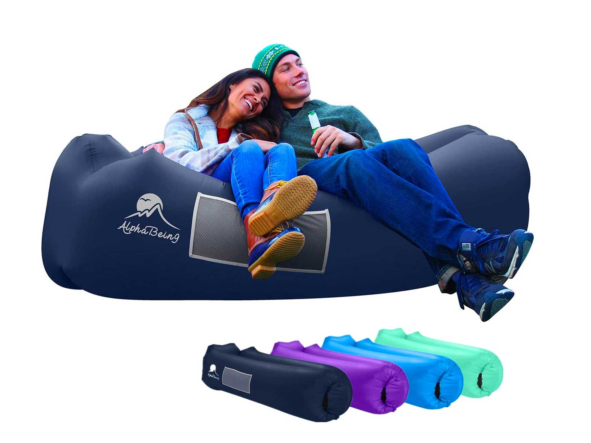 AlphaBeing Inflatable Lounger - Best Air Lounger for Traveling, Camping, Hiking - Ideal Inflatable Couch for Pool and Beach Parties