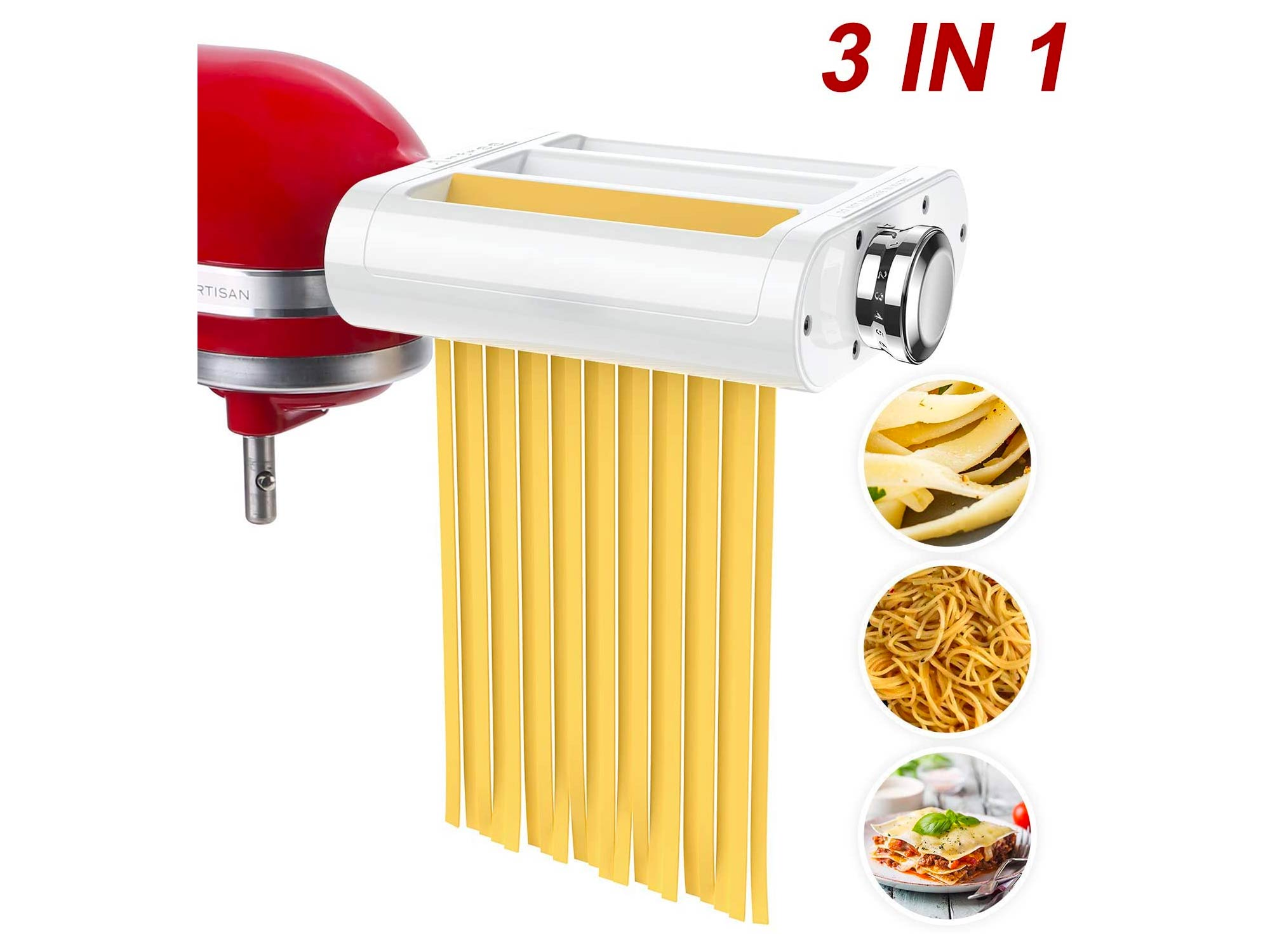 ANTREE Pasta Roller & Cutter Attachment 3-in-1 Set for KitchenAid Stand Mixers Included Pasta Sheet Roller