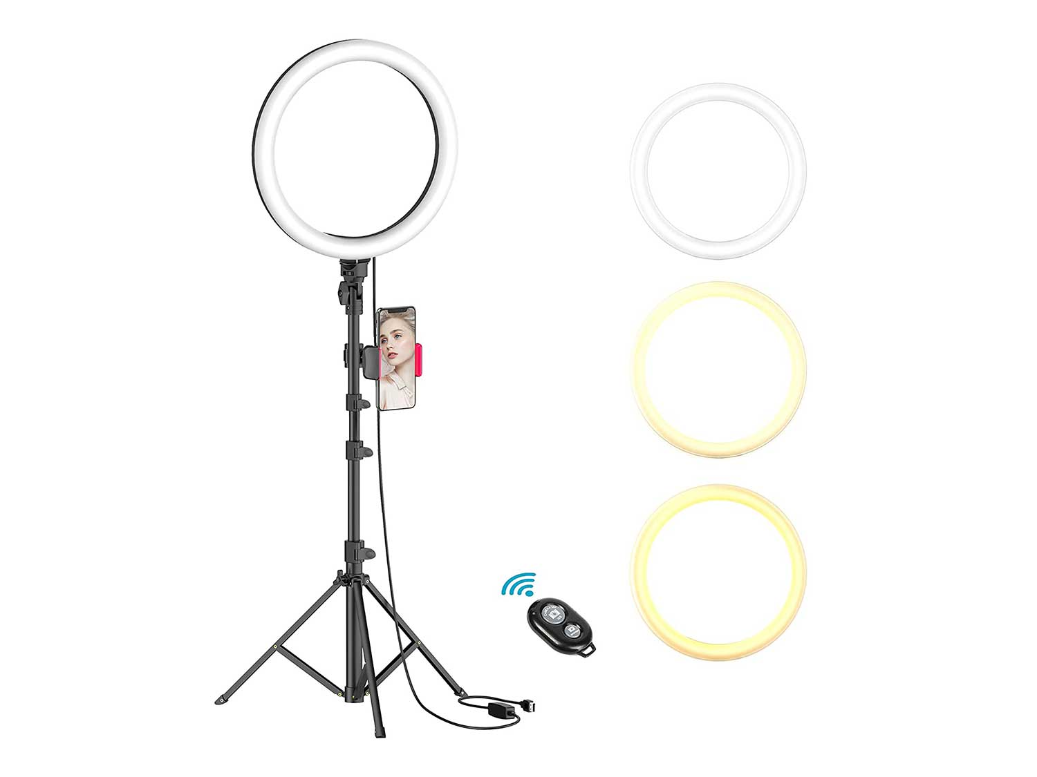 """10"""" Selfie Ring Light with Tripod Stand & Phone Holder for Live Stream/Makeup, Dimmable Led Camera Beauty Ringlight for YouTube TikTok/Photography Compatible for iPhone and Android Phone(Upgraded)"""