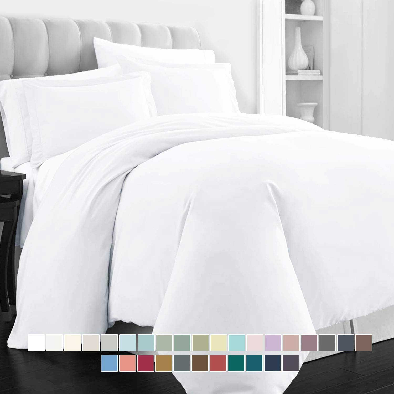 Pizuna 400 Thread Count Cotton Duvet Cover Set Queen White, 100% Long Staple Cotton Bed Set Queen/Full Size, Soft Sateen Bedding Set with Button Closure