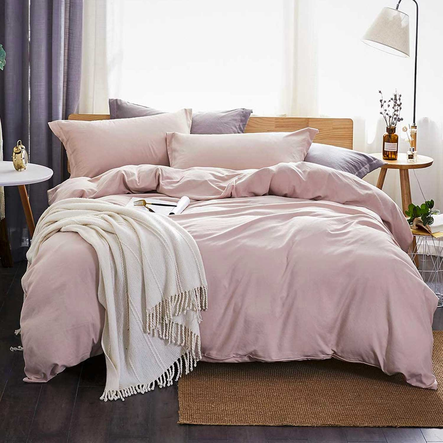 Dreaming Wapiti Duvet Cover Queen,100% Washed Microfiber 3pcs Bedding Duvet Cover Set,Solid Color Soft and Breathable with Zipper Closure & Corner Ties