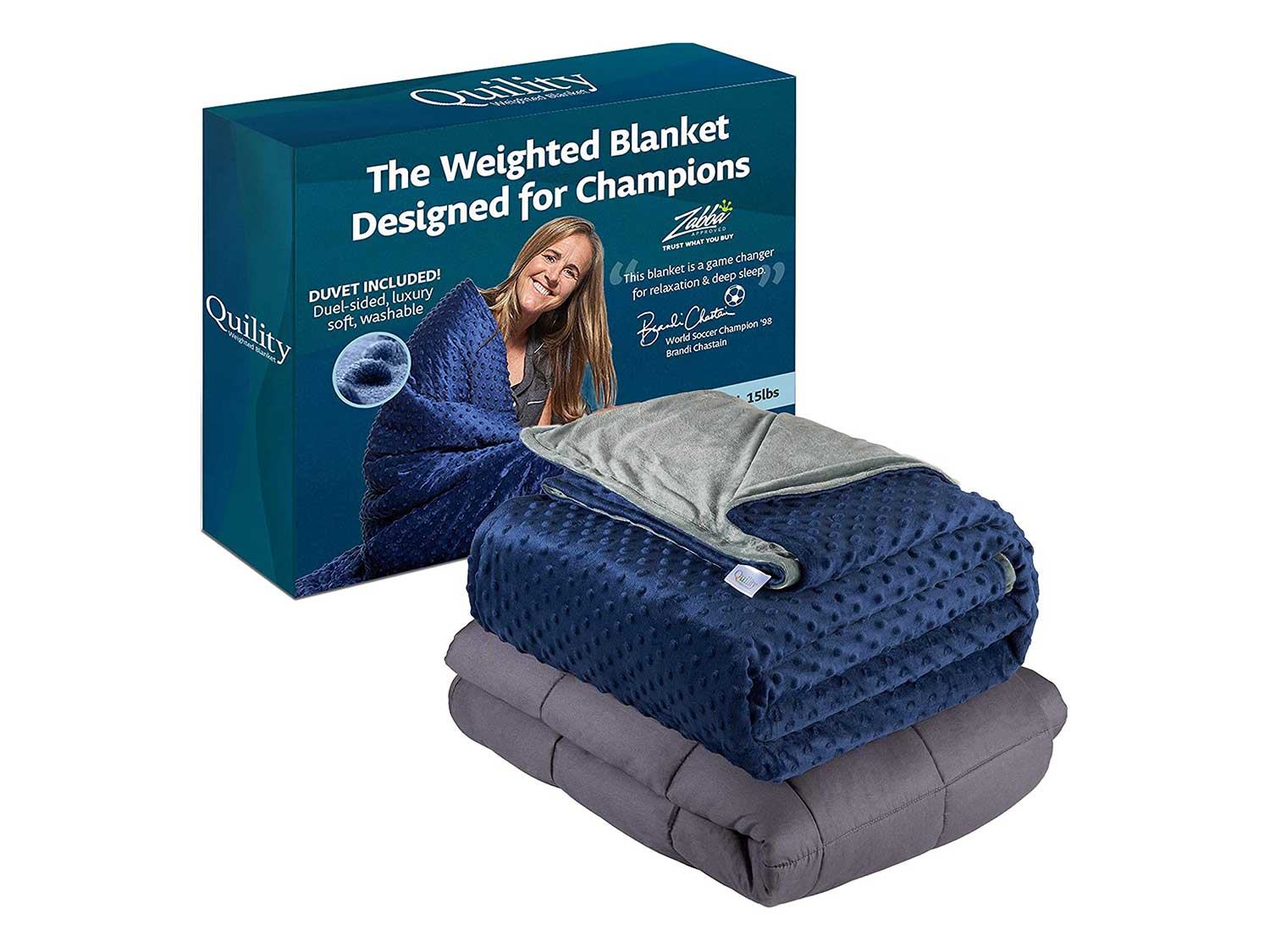 Quility Premium Adult Weighted Blanket & Removable Cover - 20 lbs - 60