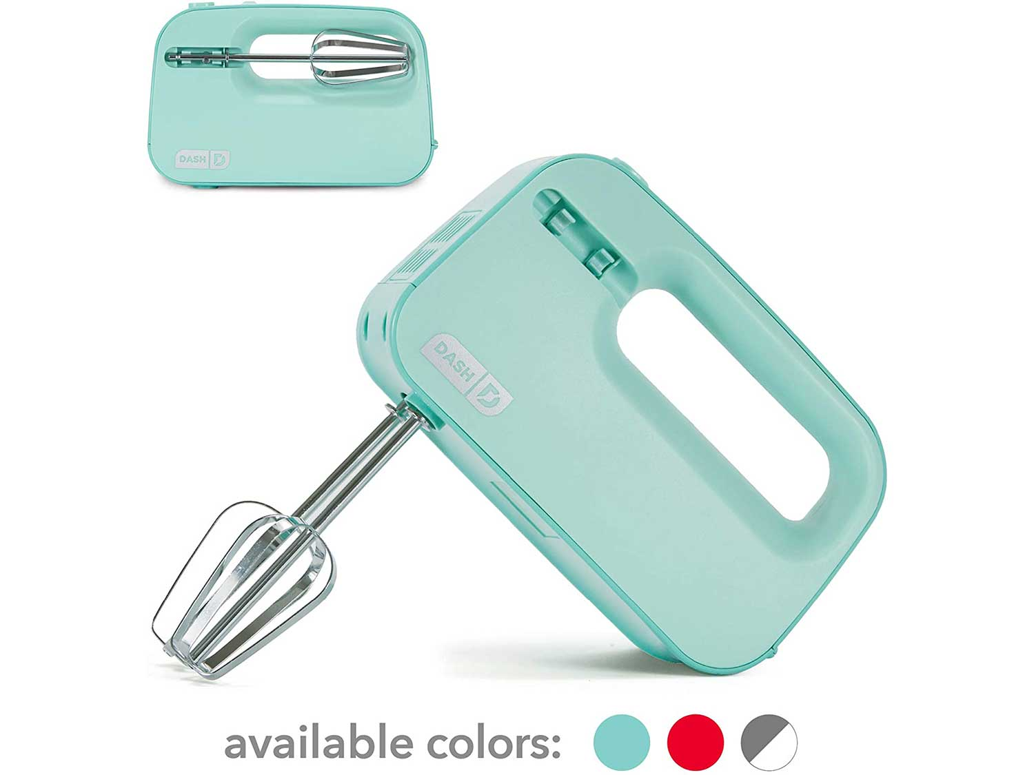 Dash Smart Store Compact Hand Mixer Electric for Whipping + Mixing Cookies, Brownies, Cakes, Dough, Batters, Meringues & More, 3 speed, Aqua